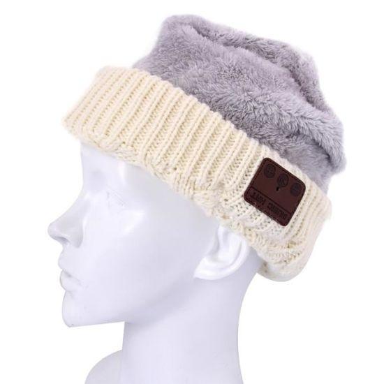 cf411de61c60 Bonnet Connecté beige pour Garçon et Fille Adultes Ondulé Texturé Tricoté  Bluetooth Casque d hiver Chaud Chapeau avec Micro - casque - écouteurs, ...