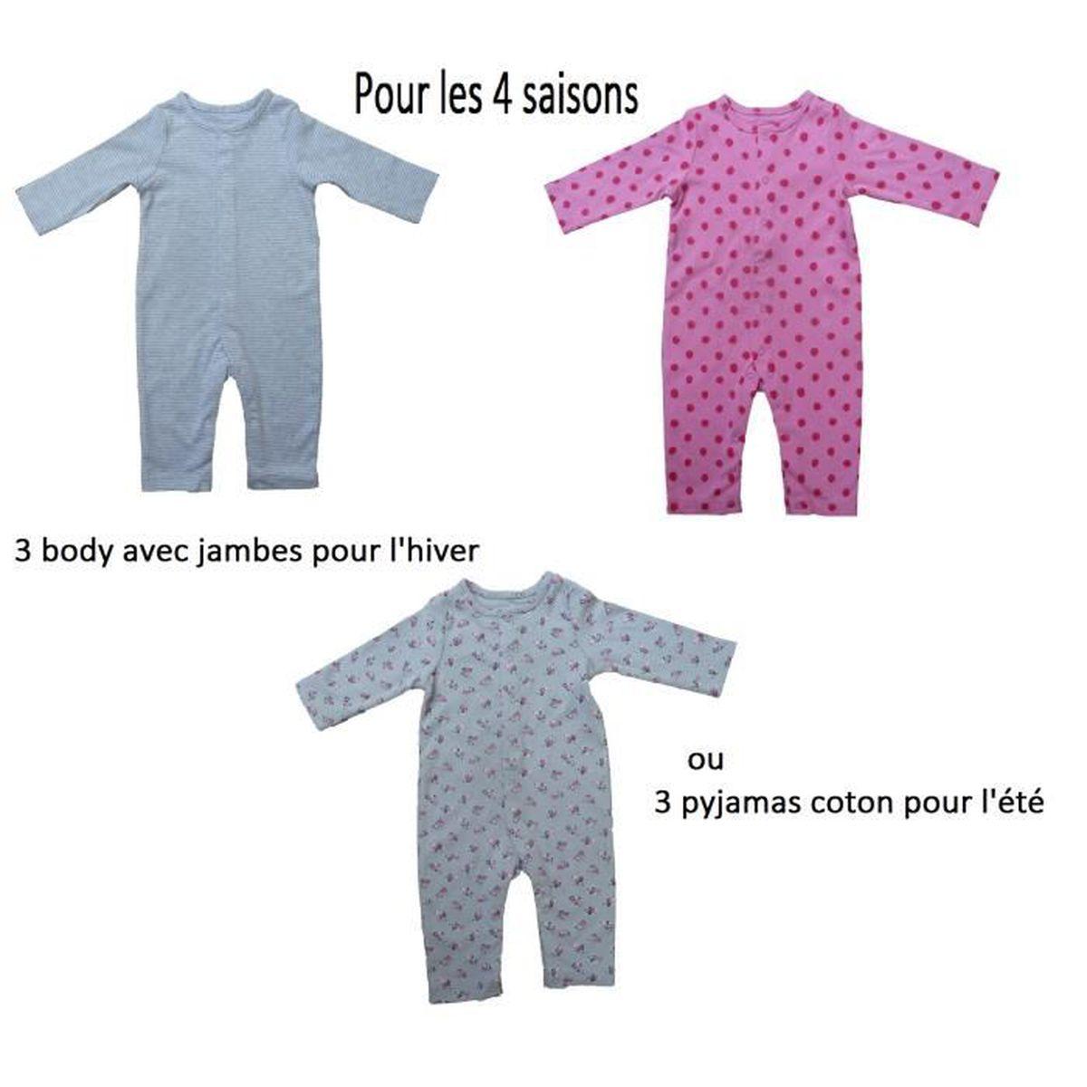 7575a8cb68da2 Lot 3 body bébé 0   3 mois avec jambes longues combinaison pyjama en ...