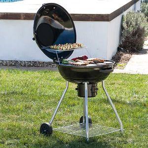Barbecue charbon avec roulettes achat vente pas cher - Barbecue a charbon avec couvercle ...
