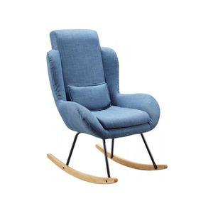 CHAISE Fauteuil A Bascule Confortable Tissu Coloris Bleu