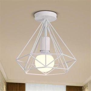 LUSTRE ET SUSPENSION Plafonnier Industrielle Cage forme Diamant Blanc L