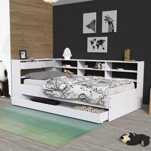 lit avec rangement 90x190 achat vente lit avec rangement 90x190 pas cher cdiscount. Black Bedroom Furniture Sets. Home Design Ideas