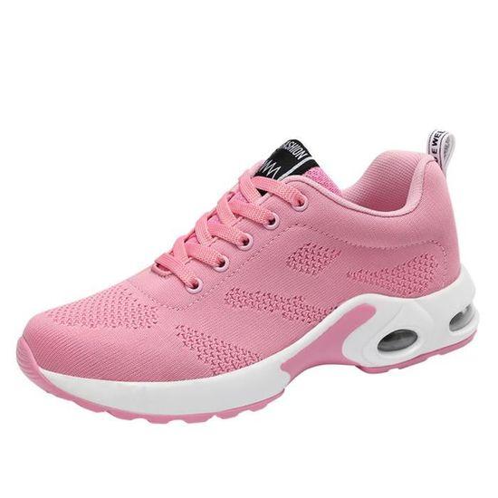 Chaussure respirante volant tissé de sport Chaussures de course Casual étudiants Mesh chaussures Rose_XZ*4305 Rose Rose - Achat / Vente basket