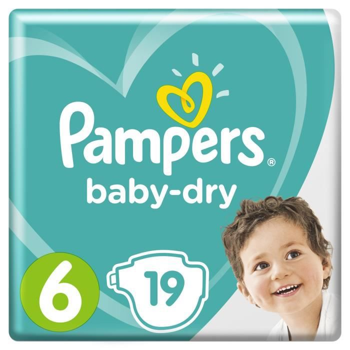 COUCHE Pampers Baby-Dry Taille 6, 13-18 kg - 19 Couches