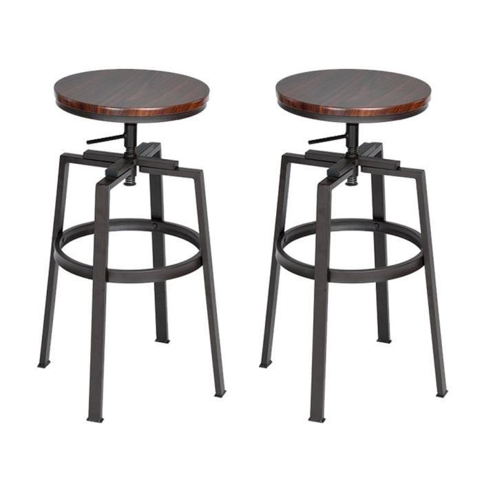 lot de 2 tabouret de bar pivotant r glable en hauteur style industriel chaise manger achat. Black Bedroom Furniture Sets. Home Design Ideas
