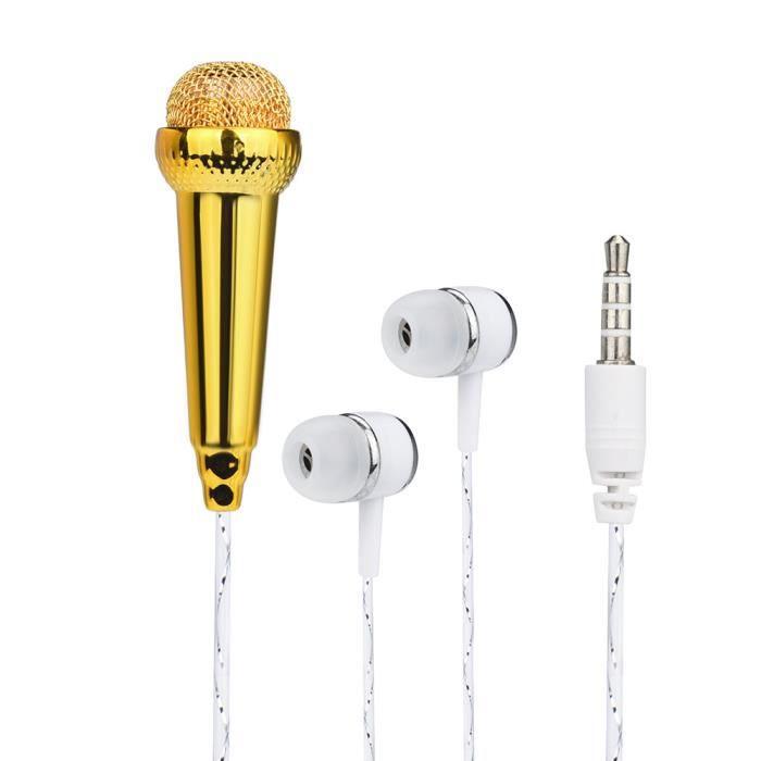 Mini Microphone À Condensateur Karaoké Avec Écouteur Pour Téléphone