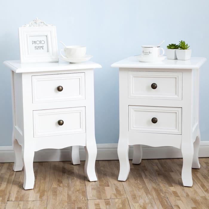 lot de 2 table de chevet blanc - achat / vente lot de 2 table de