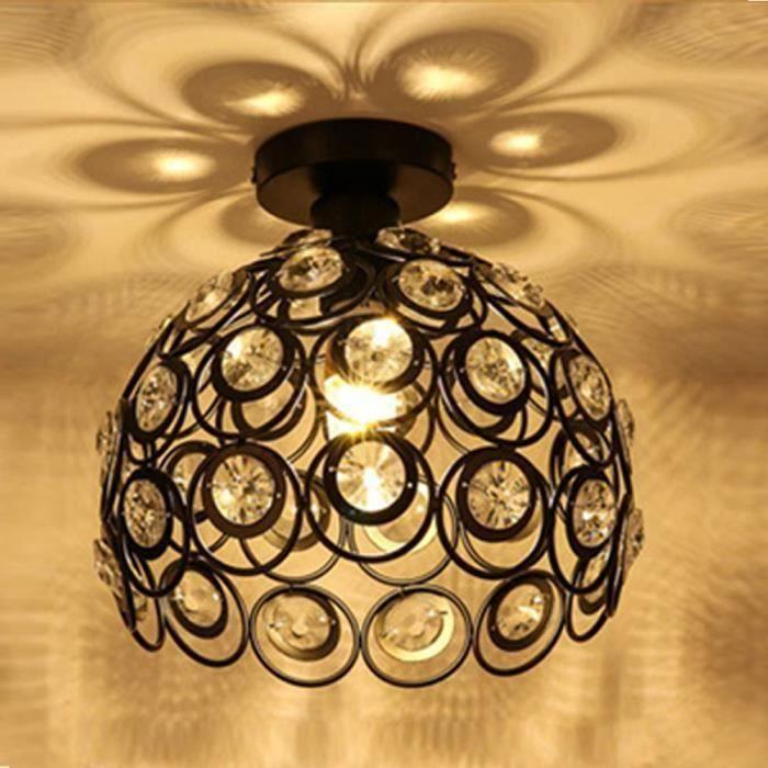 Métal Lampe À Plafond Plafonnier Cristal Fer Salon Chambre Lustre Moderne CoucherCouloir E27 En Simple Pour 26cm De CBoredx