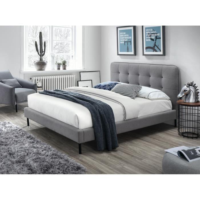 PRICE FACTORY Lit Adulte Deux Places Design ROBERT Sommier - Canapé convertible scandinave pour noël des chambres a coucher