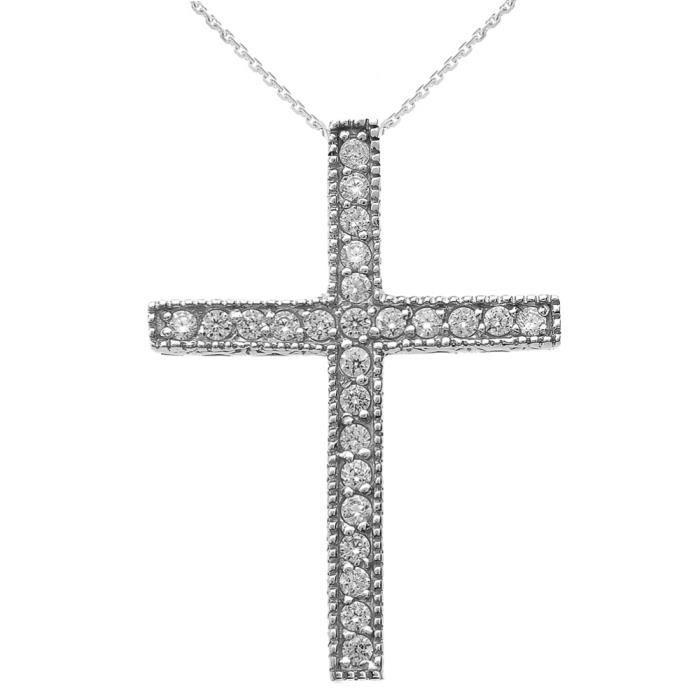 Collier Femme Pendentif 10 Ct Or Blanc Milgrain Bordé Diamant Croix (Livré avec une 45cm Chaîne) FDfgwzZjIa