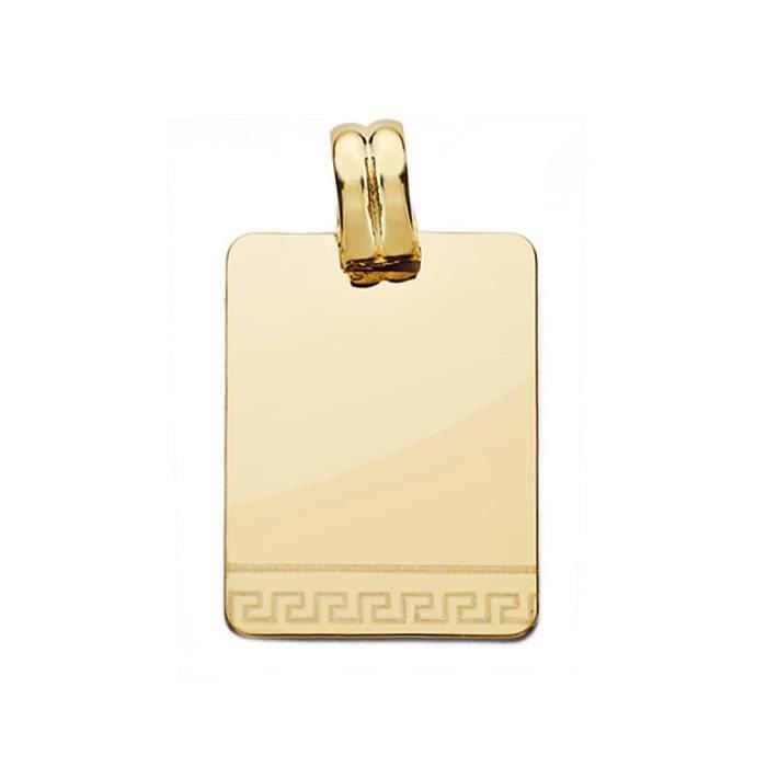 Pendentif 24mm 18k laser plaque or. [AA0539]