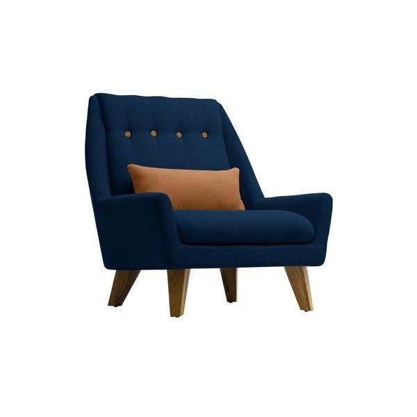 fauteuil gipsy bleu marine brun caramel achat vente fauteuil bleu cdiscount. Black Bedroom Furniture Sets. Home Design Ideas