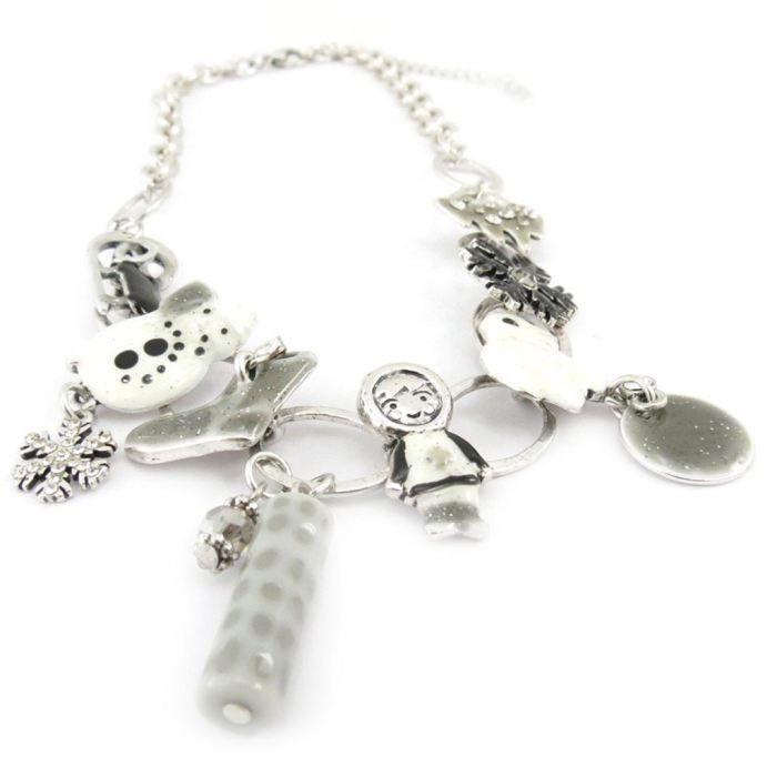 Collier Créateur Joyeux Noël blanc gris