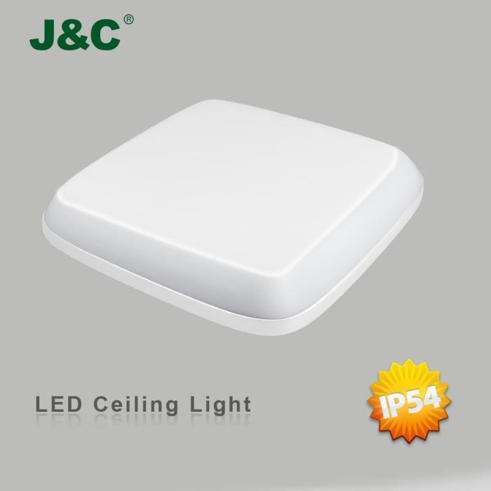 Lampe J Plafond amp;c® Luminosité En Plafonnier Lumière Led D'intérieur 24w Haute Blanc De Naturel Qualité 2050lm Sur Ip54 Carré RLq34Aj5