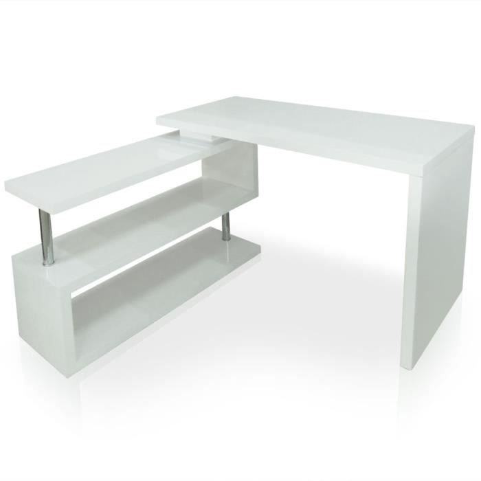 Commode bureau pivotant neo blanc achat vente meuble - Meuble informatique blanc ...