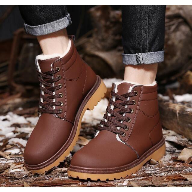 PU cuir Bottes Casual chaud hommes d'hiver Fahsion Bottes, Bottes décontractées en cuir PU Bottes Chaudes pour hommes en