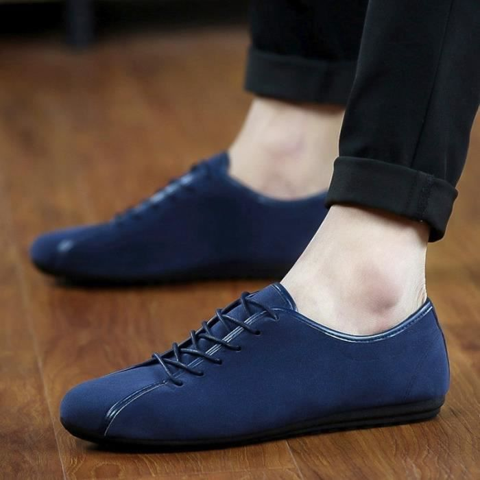 Casual Mocassins Suede Driviers en cuir pour hommes Chaussures Vintage lacent Designer Hommes Chaussures plates respirante