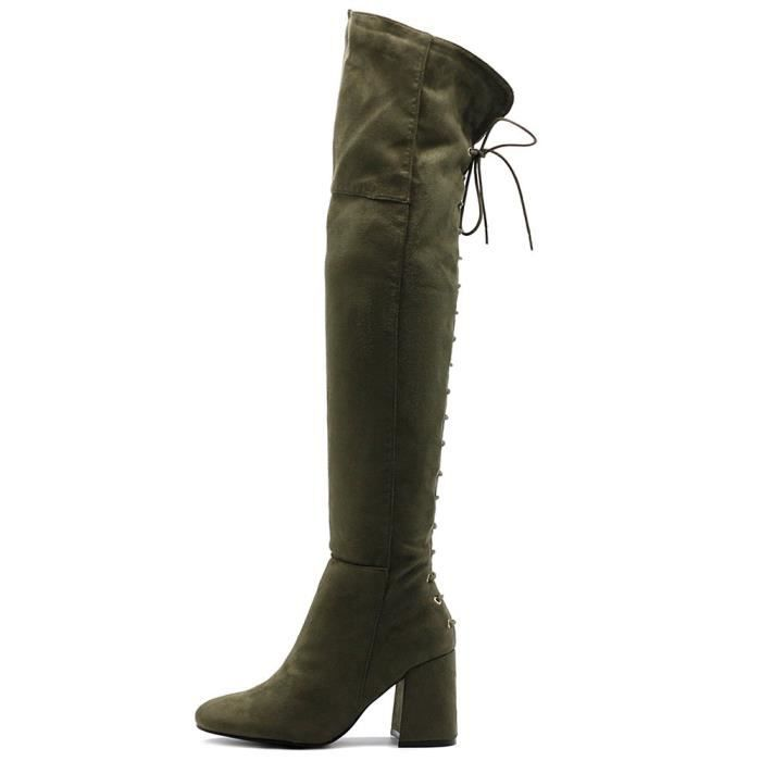 Shoe Faux Suede Back Lace-up Over The Knee Zip Up Long Boots XS4B6 Taille-40