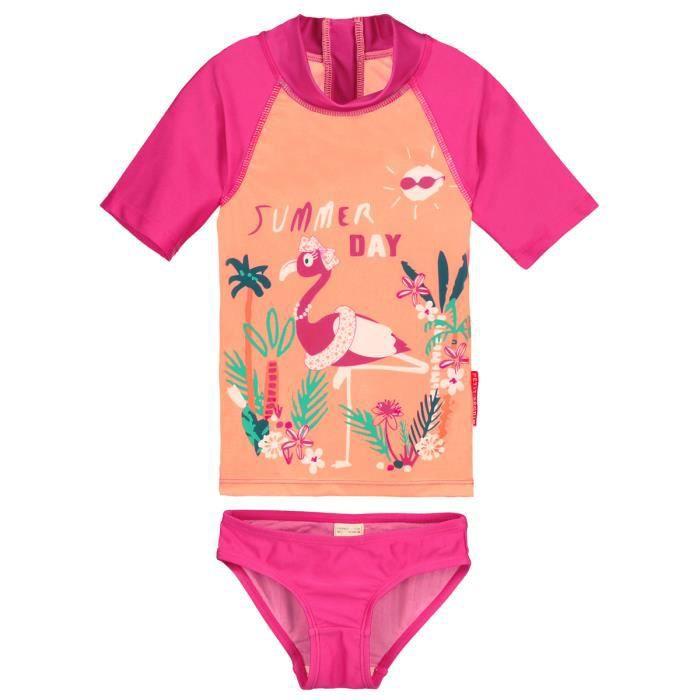 879a1f9ff7c0 Maillot de bain ANTI-UV 2 pièces t-shirt   slip fille Flamingo - Taille -  2-3 ans (92-98 cm)