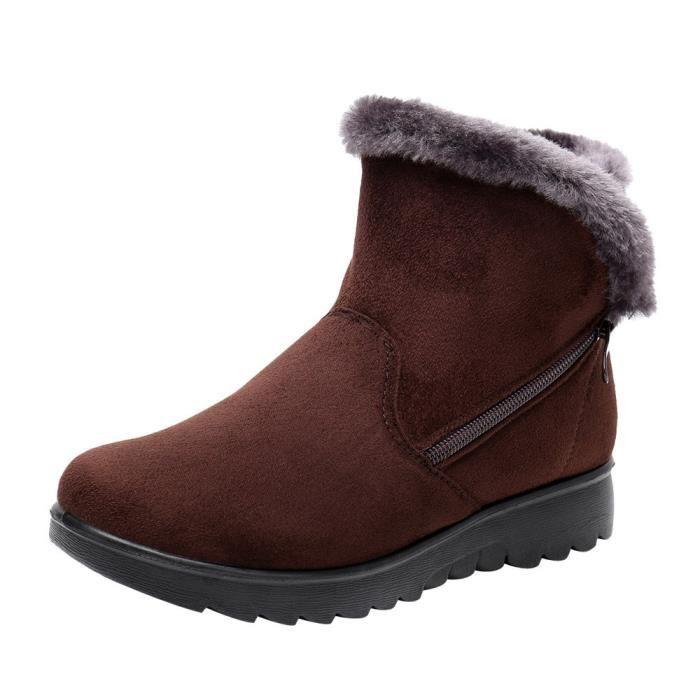 Cheville Fourrure Neige Femme Mesdames Marron Short Hiver La Chaussures Bottes Martin Exquisgift Chaudes De qXE1w00