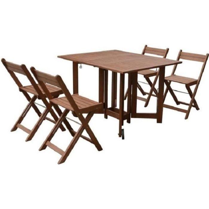Table pliante bois avec 4 chaise - Achat / Vente pas cher