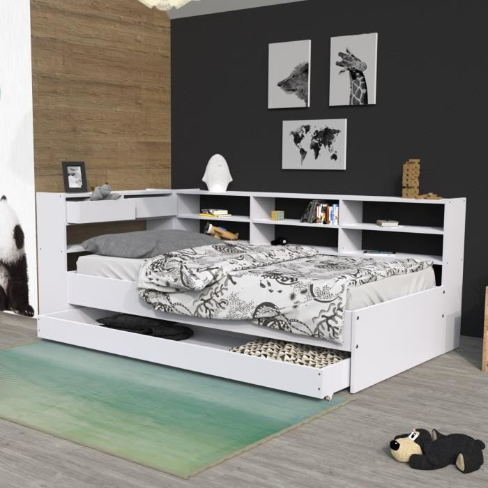 lit gigogne avec etagere achat vente lit gigogne avec etagere pas cher cdiscount. Black Bedroom Furniture Sets. Home Design Ideas
