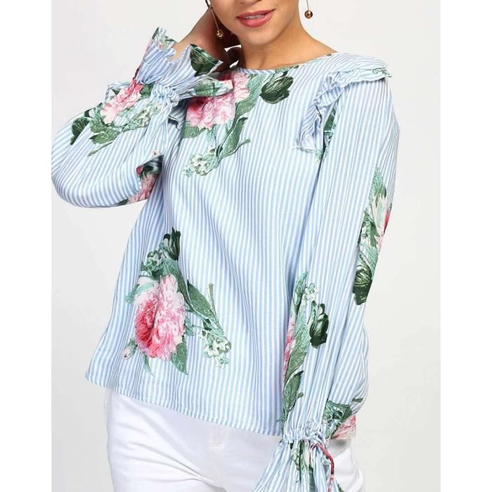 Trendtwo Floral Cassie noueuse Women Top Floral Noeuds Casual Top A1ZPW