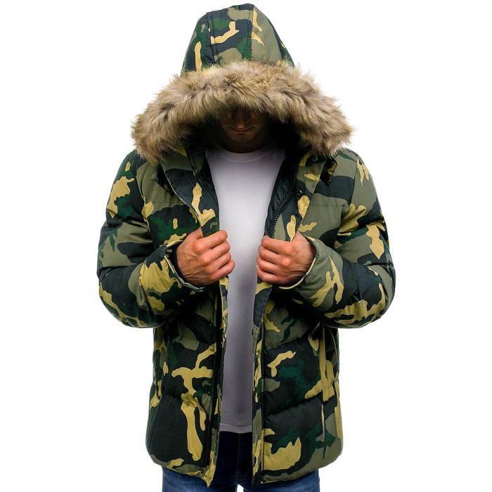 À Air Capuchon Fourrure Verte Plein Plus Chaud Manteau Épais Veste Hommes Les Armée En D'hiver HwqPctf