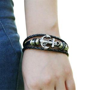 BRACELET - GOURMETTE Bracelet en cuir d'alliage d'ancre d'hommes