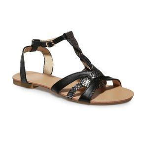 La Modeuse Sandales grande taille noires brides tressées Noir - Chaussures Sandale Femme