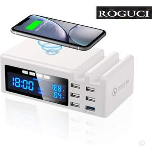 CHARGEUR TÉLÉPHONE Chargeur USB 6 Port Sans fil Qi Rapide Station de