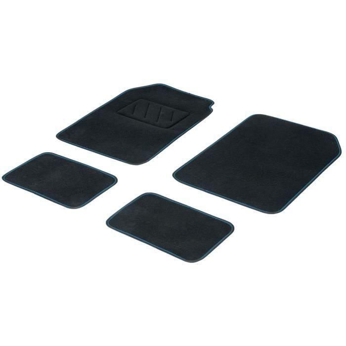 DBS Jeu de 4 Tapis Noir Surjet Fluo Bleu