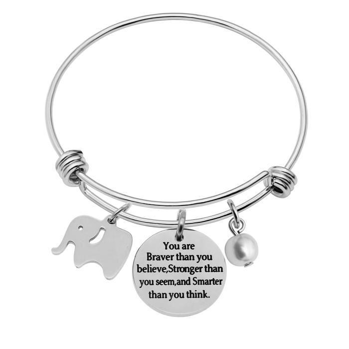 e3b431fe9de74 extensible Bracelet cadeaux pour femme éléphant porte-bonheur Perle – Vous  êtes Braver Stronger Smarter Than You Think