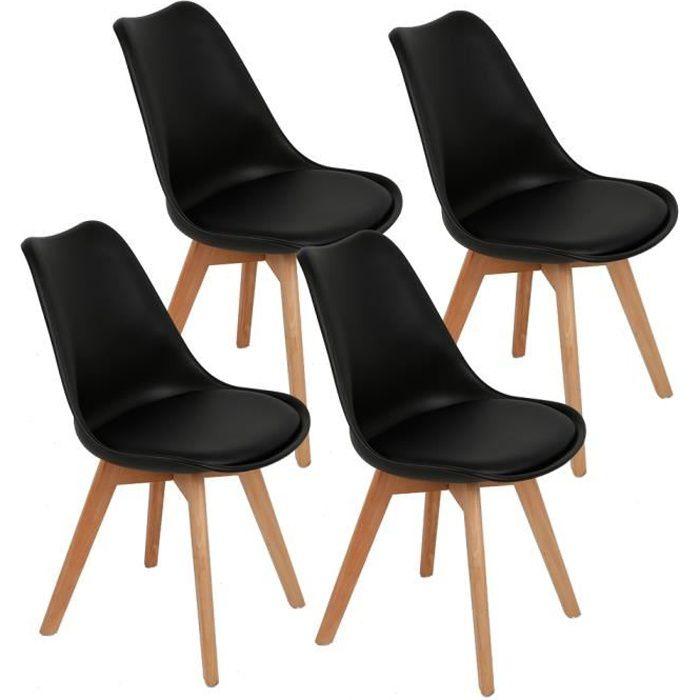 Luxs Lot De 4 Chaise De Salle A Manger Noir Style Scandinave Assise
