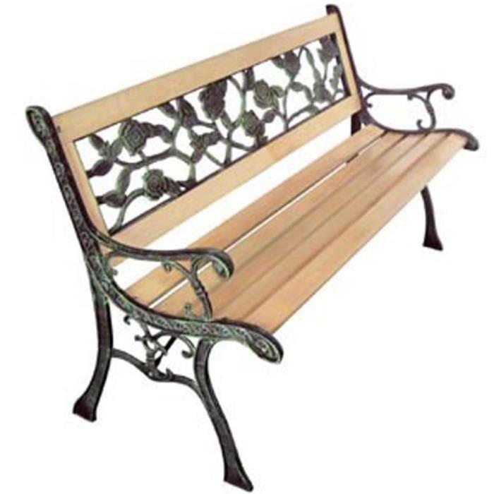 R48 Ce banc de jardin a 3 places en bois et fer forge est un vrai ...
