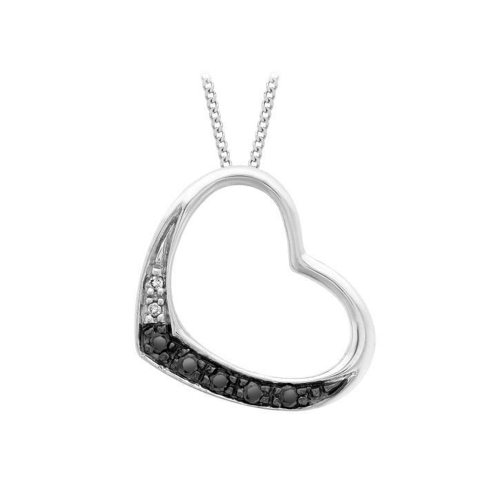 Collier Femme Avec Pendentif - Coeur - Or Blanc (9 Cts) 1.8 Gr - Diamant Z8P0R