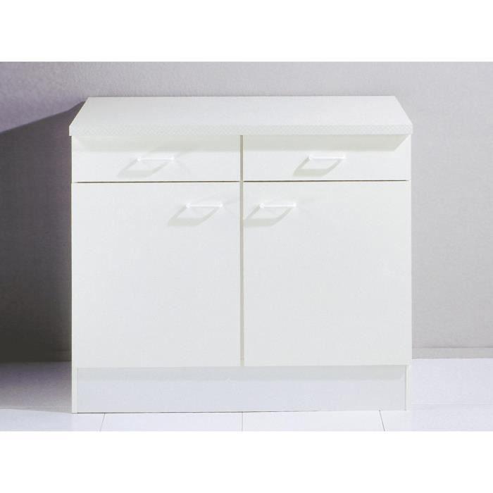 Meuble Bas De Cuisine Blanc #9: Meuble Bas De Cuisine Tupi 100cm Blanc - Achat / Vente Elements Bas Meuble  Bas De Cuisine... - Cdiscount