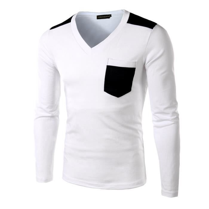 86ca478fef56be Tee Shirt Manches Longues Homme Marque Col V Ts... Blanc blanc ...