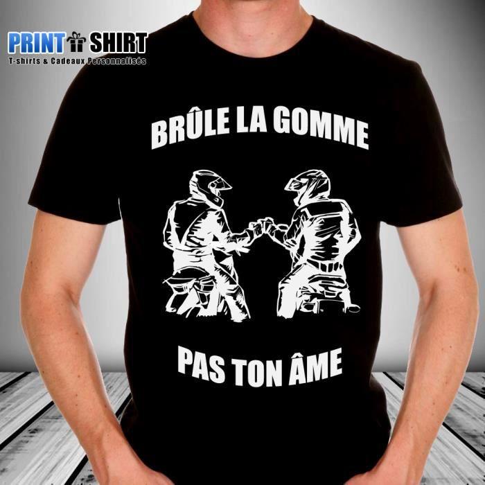 Tee shirt personnalis motard br le la gomme noir noir achat vente t shirt soldes d s - Faire tee shirt personnalise ...