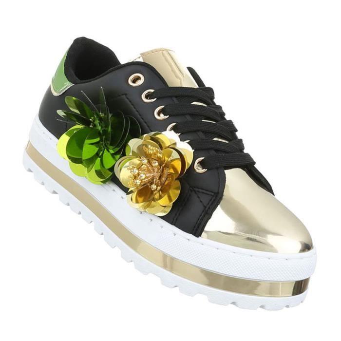 Sneakers De blanc Loisirs Sport Noir Noir Femme Or Chaussures 41 Argent blanc x1Zqw