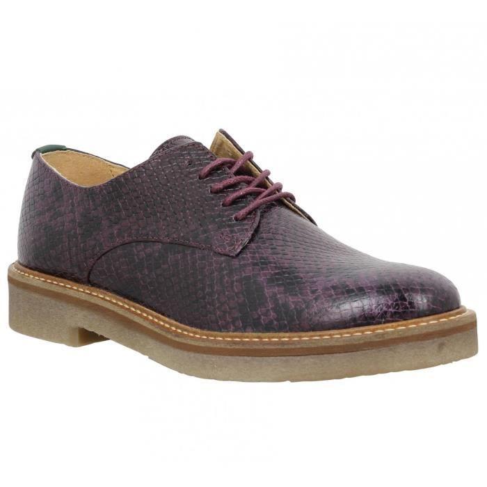 Chaussures à lacets KICKERS Oxfork python Femme-39-Bordeaux