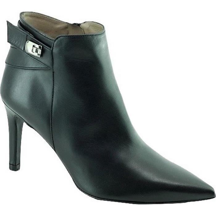Mizina - Bottine pointu talon Aiguille haut très féminin marques Angelina chaussures Femme petites pointures tailles cuir noir