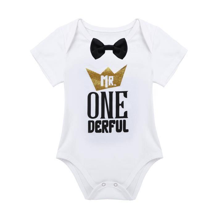 Body bébé garçon - manches courtes Baptême 1er Anniversaire - de 12 à 24  Mois c4dee297010