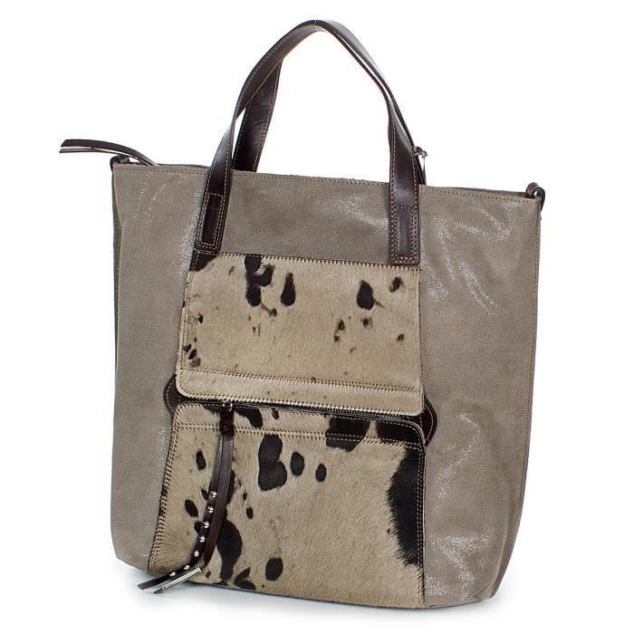 ce765d9672 NICOLI XL Sac shopper en cuir de veau souple avec peau de vache fabriqué en  Italie (37x34x11 cm), Farben:Taupe