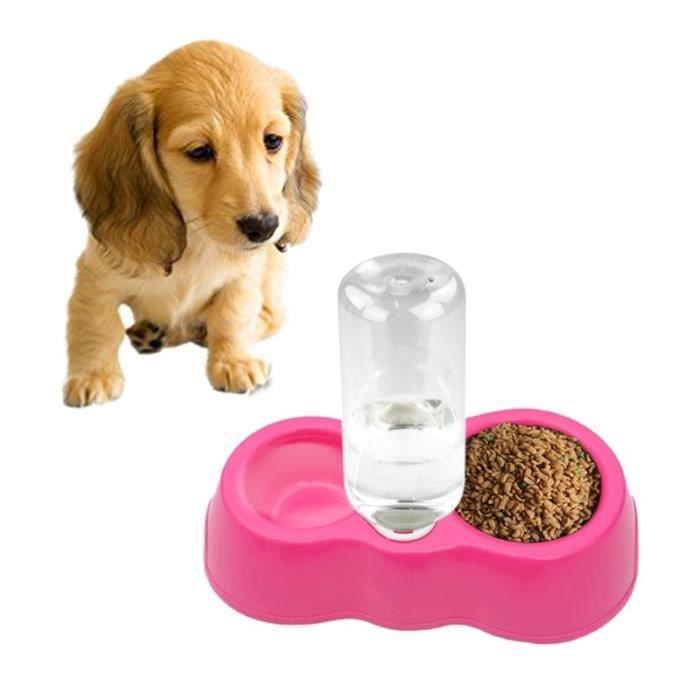 Gamelle Pour Animaux Chien Chat Potable Double Water Bowls Avec Distributeur Automatique De L'eau Magenta