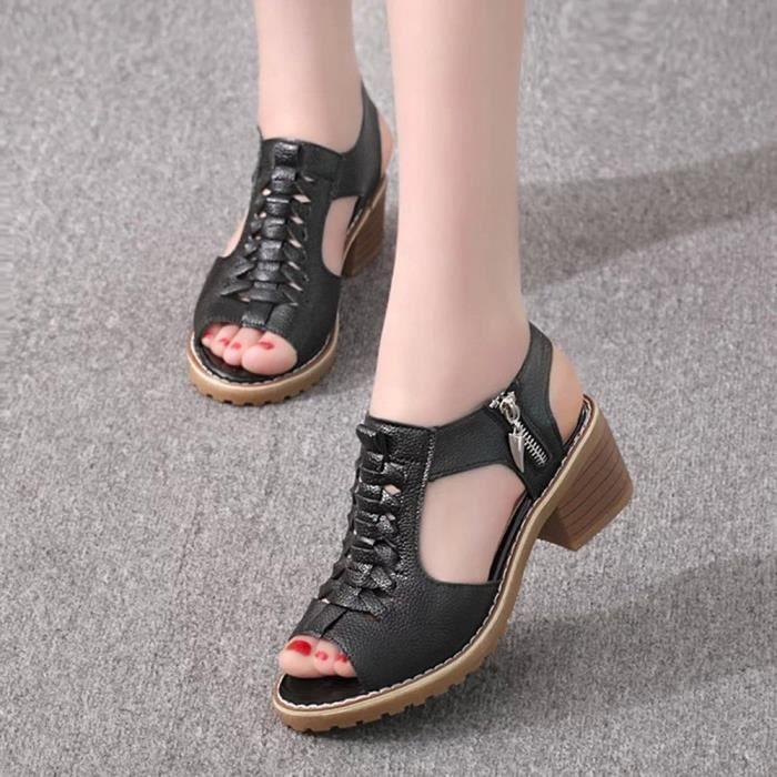 Hotskynie®mode Peep Toe Solid Wild Carré sandales populaire pour femmes Noir*SJF71225731BK
