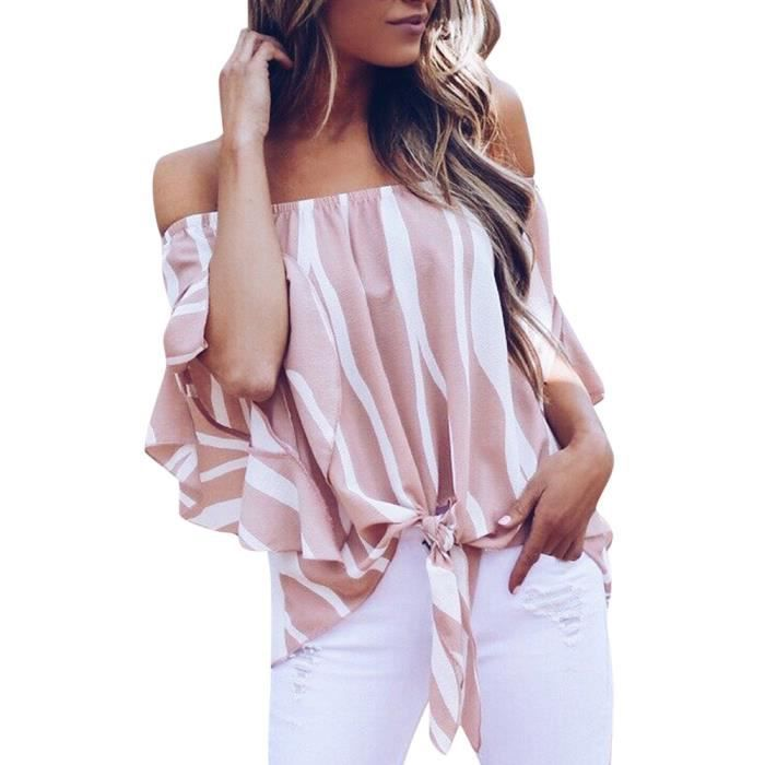 Rayé T L Pink Hors Tops shirts PoiLes Cravate Manches Courtes Taille Occasionnels Femmes 3705 Épaule Yll80511524pkl Chemisier OZPukiX