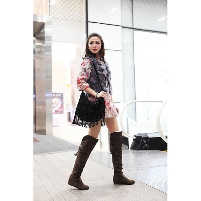 Tomwell Femmes Hiver Mode Chaud Bottes De Neige Slouchy Bottes De Fourrure Plat Genou Bottes
