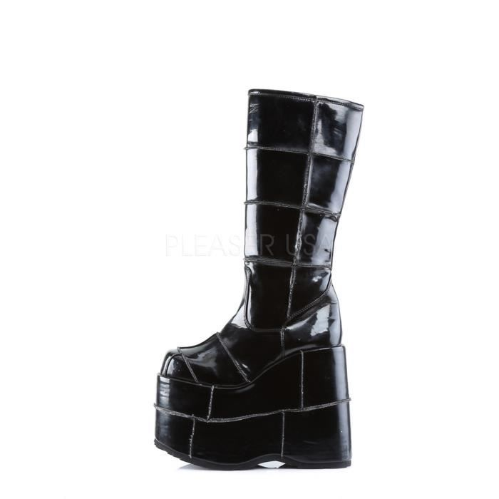 Demonia STACK-301 7 Inch P/F Goth Cyber GoGo Punk Patched Blk Pat Knee BT