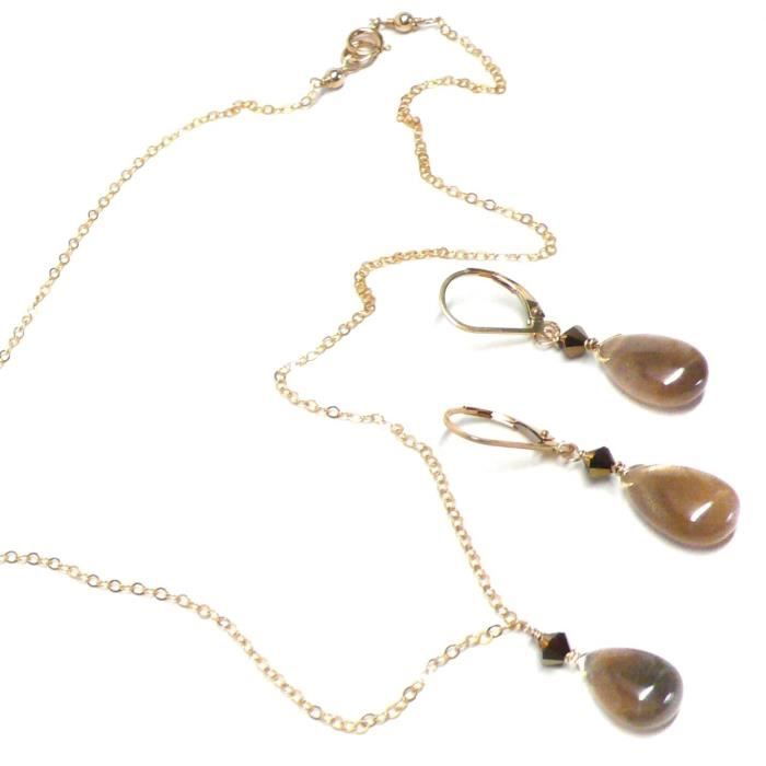Womens Honey Moonstone Teardrop Dainty Chain Necklace 17-1-2 Inches Gold-filled IRQA7